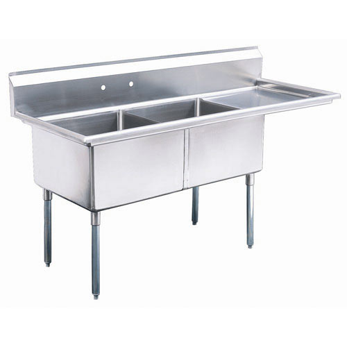 "Turbo Air 2 Compartment Sink w/Right Drainboard 24"" TSB-2-R2"