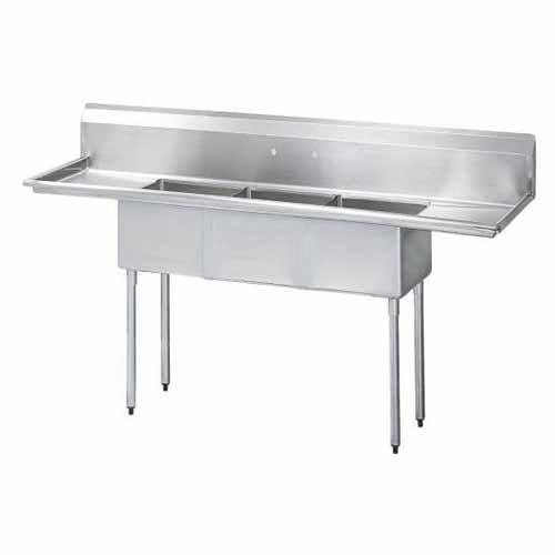 Turbo Air 3 Compartment Sink w/Double Drainboard TSA-3-12-D1