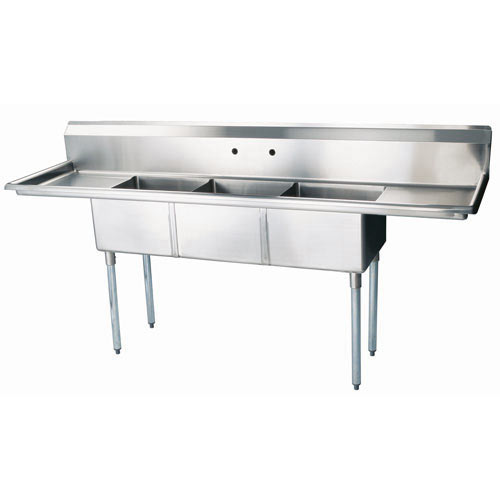 "Turbo Air 3 Compartment Sink w/Double Drainboards 18"" TSA-3-D1"