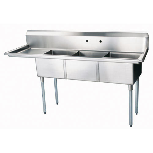 Turbo Air 3 Compartment Sink w/Left Drainboard TSA-3-12-L1