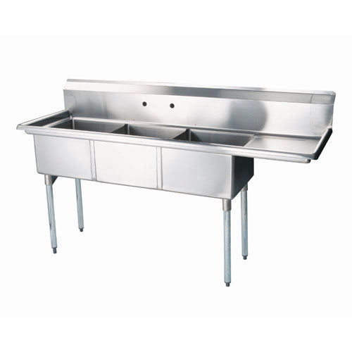 Turbo Air 3 Compartment Sink w/Right Drainboard TSA-3-12-R1