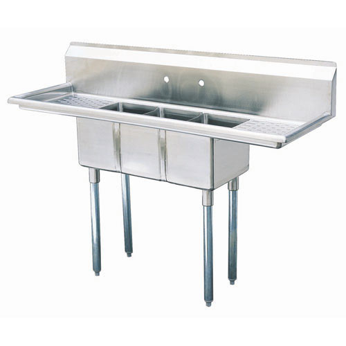 "Turbo Air 3 Compartment Sink w/Double Drainboard 16"" TSCS-3-23"