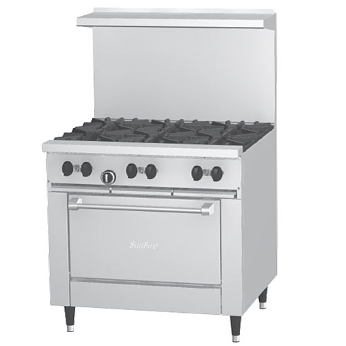 "US Range SunFire 36 "" Gas Restaurant Range 6 Burners & Oven X36-6R"