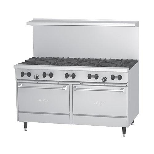 """US Range SunFire 60"""" Gas Restaurant Range 10 Burners 2 Ovens X60-10RR"""