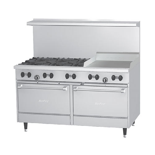 "US Range SunFire 60"" Gas Restaurant Range 6 Burners Griddle X60-6G24RR"