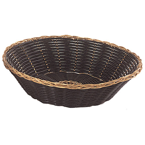 "Update Round Black Vinyl Woven Basket w/Gold Trim - 8"" BBV-8R"