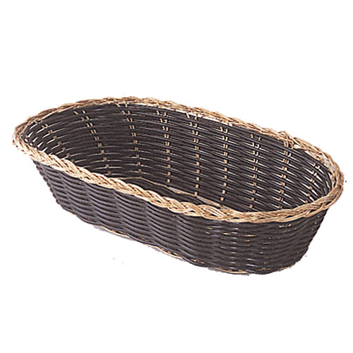 "Update Black Vinyl Woven Cracker Basket w/Gold Trim - 9"" x 4 1/4"" BBV-94"