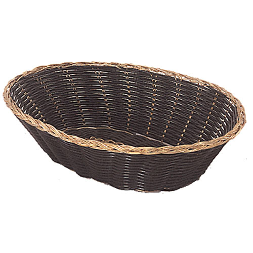 "Update Oval Black Vinyl Woven Basket w/Gold Trim - 9"" x 6 1/2"" BBV-97"