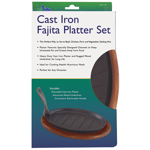 "Update Cast Iron Fajita Platter Set - 11"" CIZP-11/SET"