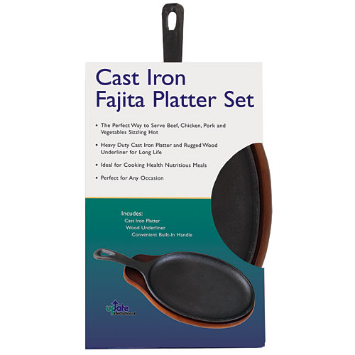 "Update Cast Iron Fajita Platter Set - 15"" CIZPH-15/SET"