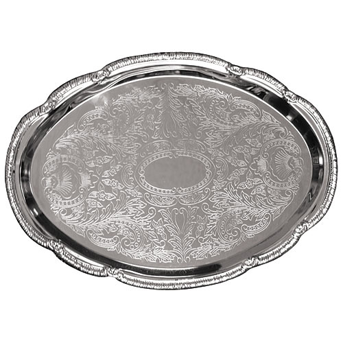 "Update Chrome Plated Oval Tray - 18"" CT-1813V"