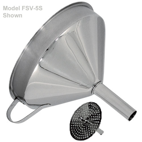 "Update Stainless Steel Funnel w/Removable Strainer - 5 3/4"" FSV-6S"