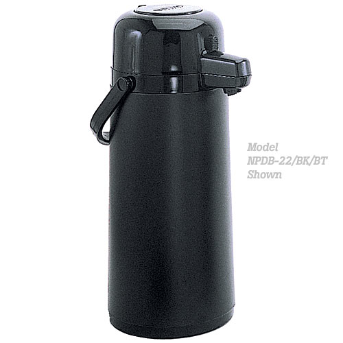 Update All Black Tin Body Push-Button Top Black Airpot - 2.2 L NPDB-22/BK/BT