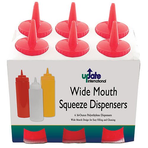 Update Wide Mouth Red Squeeze Bottle - 16 oz  SBR-16W