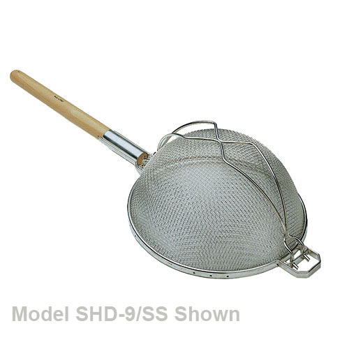 "Update S/S Fine Reinforced Double Mesh Wooden Handle Strainer - 9 7/16"" SHD-9/SS"