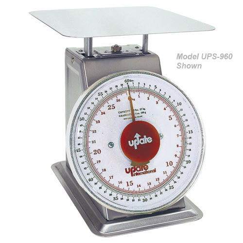 "Update 9"" Dial Stainless Steel Receiving Scale - 60 lb UPS-960"