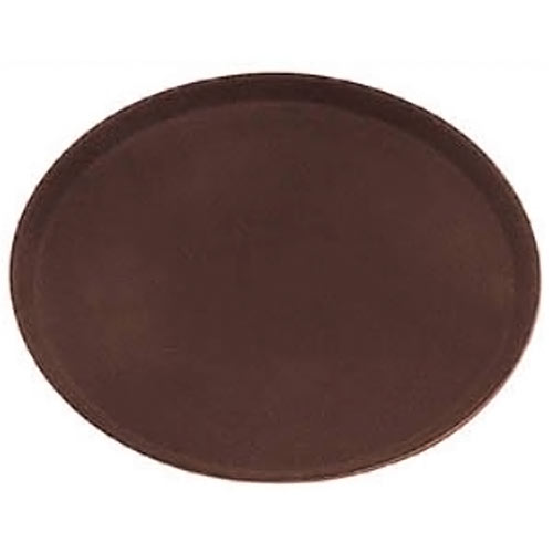 "Update Brown Oval Non-Slip Serving Tray - 22"" x 27"" GT-2700BR"