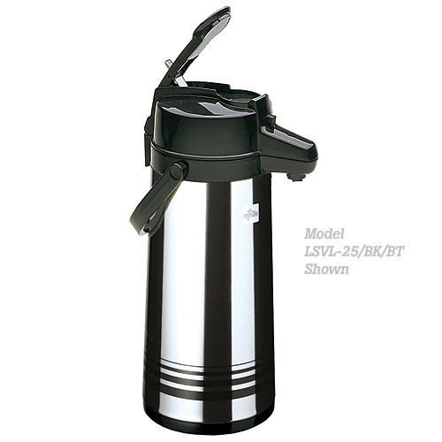 Update Brushed S/S Shell & Liner Lever Top Black Airpot - 2.5 L LSVL-25/BK/SF