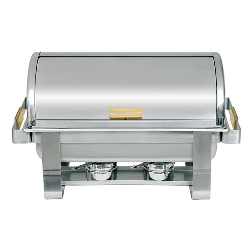 Update Heavy Duty Gold Accented Rectangular Roll-Top Chafer - 8 Qt RTC-8
