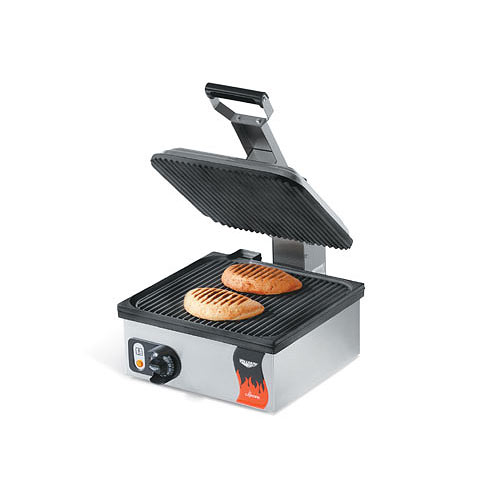 "Vollrath Cayenne Grooved Plate Sandwich Press/Panini Grill - 14"" Non-Stick 40790"