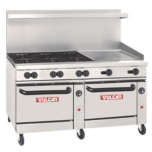 "Vulcan Endurance 60"" Gas Restaurant Range - 6 Burners w/ 24"" Griddle 60-SS-6B-24G"