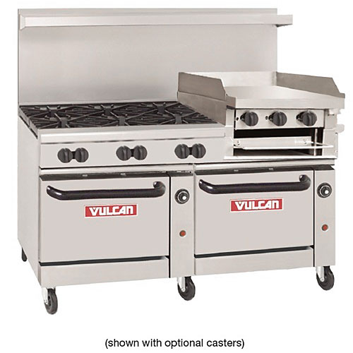 "Vulcan Endurance 60"" Gas Restaurant Range - 6 Burners & 24"" Griddle- Broiler 60SS-6B24GB"