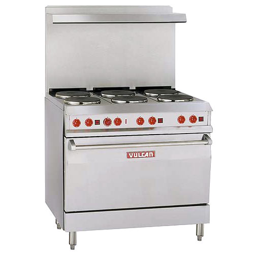 "Vulcan 36"" Electric Restaurant Range -  6 French Plates EV36-S-6FP-208"